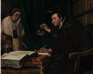 Последователь Яна Харвикзоона Стена (Лейден 1626-1679). Доктор за  столом изучает образцы анализов.