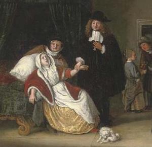 Ученик Яна Харвикзоона Стена (Лейден 1626-1679). Помещение с врачом посещающим  госпожу