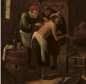 Яну Харвикзоону Стену (Лейден 1626-1679). Шарлатан, лечащий  крестьянина в помещении.
